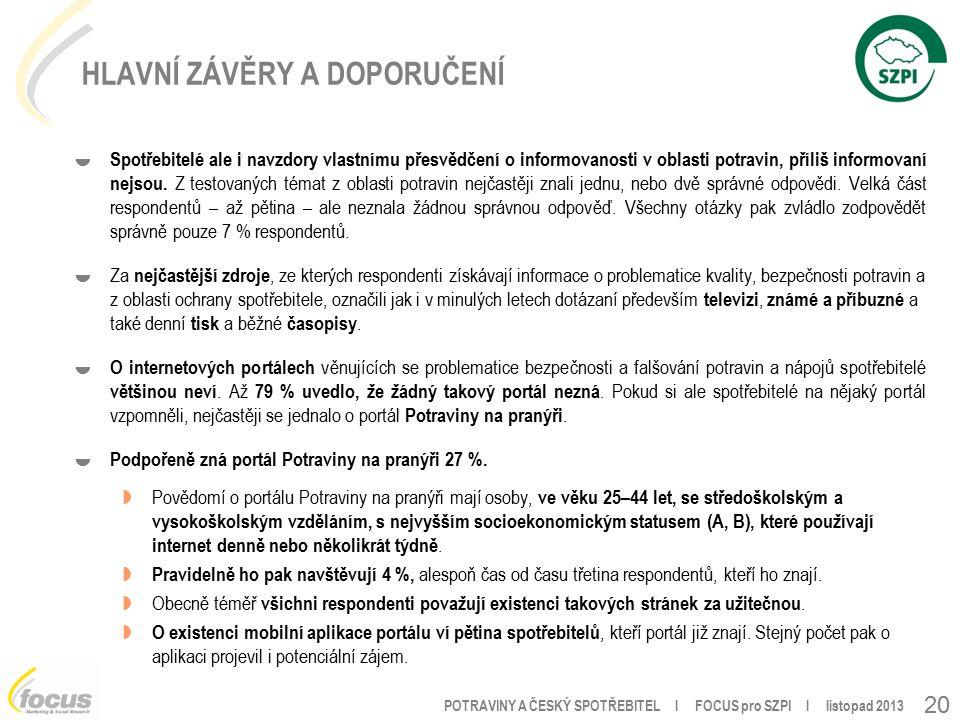 POTRAVINY A ČESKÝ SPOTŘEBITEL l FOCUS pro SZPI l listopad 2013 20 HLAVNÍ ZÁVĚRY A DOPORUČENÍ  Spotřebitelé ale i navzdory vlastnímu přesvědčení o informovanosti v oblasti potravin, příliš informovaní nejsou.