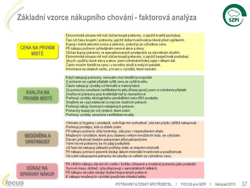 POTRAVINY A ČESKÝ SPOTŘEBITEL l FOCUS pro SZPI l listopad 2013 Základní vzorce nákupního chování - faktorová analýza 37 Ekonomická situace mě nutí občas koupit potraviny, o jejichž kvalitě pochybuji.