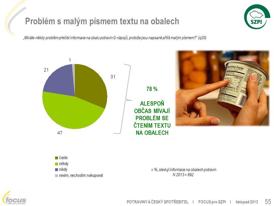 """POTRAVINY A ČESKÝ SPOTŘEBITEL l FOCUS pro SZPI l listopad 2013 55 Problém s malým písmem textu na obalech """"Míváte někdy problém přečíst informace na obalu potravin či nápojů, protože jsou napsané příliš malým písmem (q20) v %, sledují informace na obalech potravin N 2013 = 892 78 % ALESPOŇ OBČAS MÍVAJÍ PROBLÉM SE ČTENÍM TEXTU NA OBALECH"""
