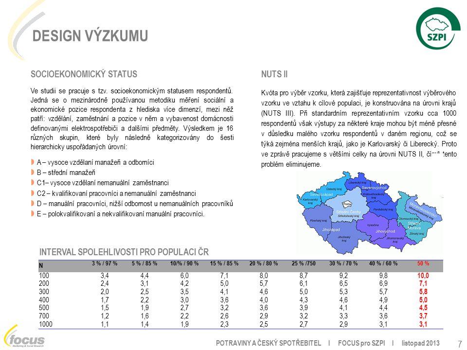 POTRAVINY A ČESKÝ SPOTŘEBITEL l FOCUS pro SZPI l listopad 2013 SOCIOEKONOMICKÝ STATUS Ve studii se pracuje s tzv.