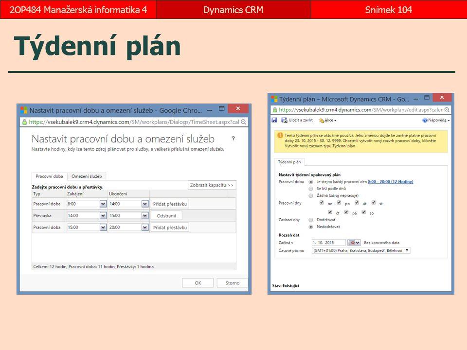 Týdenní plán Dynamics CRMSnímek 1042OP484 Manažerská informatika 4