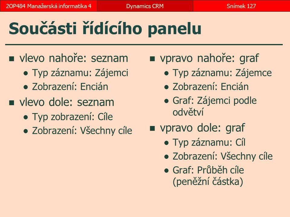 Součásti řídícího panelu vlevo nahoře: seznam Typ záznamu: Zájemci Zobrazení: Encián vlevo dole: seznam Typ zobrazení: Cíle Zobrazení: Všechny cíle vp
