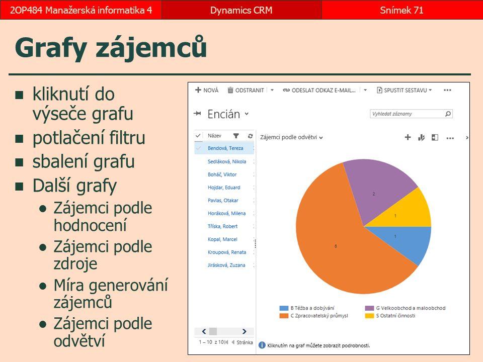 Grafy zájemců kliknutí do výseče grafu potlačení filtru sbalení grafu Další grafy Zájemci podle hodnocení Zájemci podle zdroje Míra generování zájemců Zájemci podle odvětví Dynamics CRMSnímek 712OP484 Manažerská informatika 4