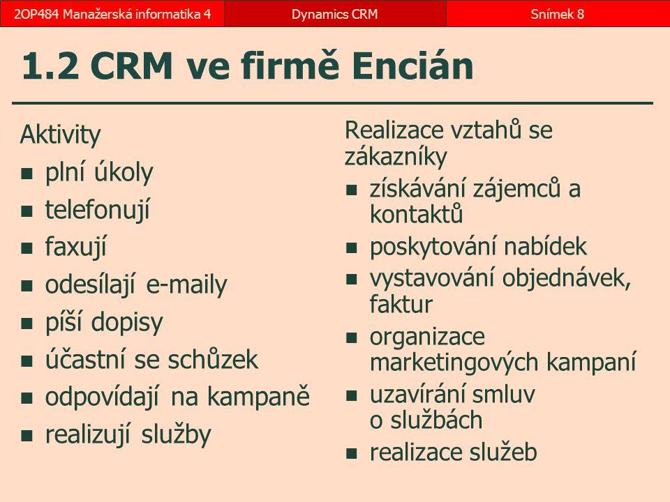 1.2 CRM ve firmě Encián Aktivity plní úkoly telefonují faxují odesílají e-maily píší dopisy účastní se schůzek odpovídají na kampaně realizují služby Realizace vztahů se zákazníky získávání zájemců a kontaktů poskytování nabídek vystavování objednávek, faktur organizace marketingových kampaní uzavírání smluv o službách realizace služeb Dynamics CRMSnímek 82OP484 Manažerská informatika 4