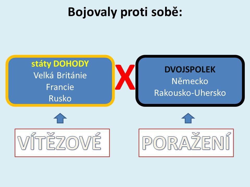 Bojovaly proti sobě: X státy DOHODY Velká Británie Francie Rusko DVOJSPOLEK Německo Rakousko-Uhersko