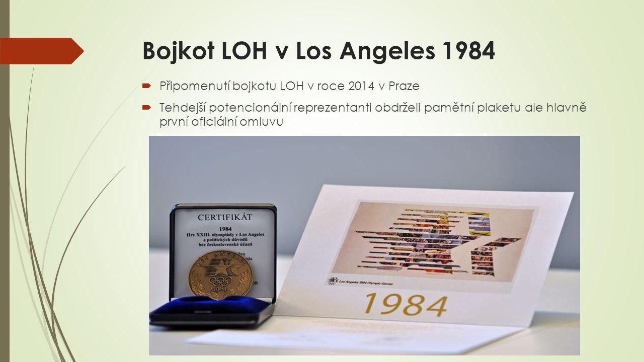 Bojkot LOH v Los Angeles 1984  Připomenutí bojkotu LOH v roce 2014 v Praze  Tehdejší potencionální reprezentanti obdrželi pamětní plaketu ale hlavně první oficiální omluvu