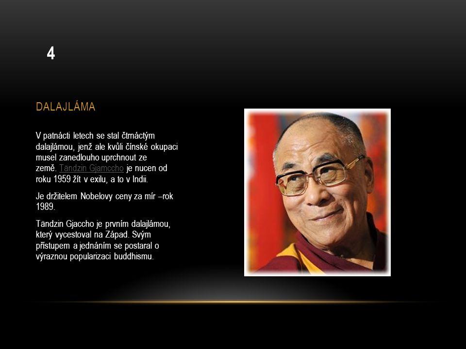 DALAJLÁMA V patnácti letech se stal čtrnáctým dalajlámou, jenž ale kvůli čínské okupaci musel zanedlouho uprchnout ze země. Tändzin Gjamccho je nucen