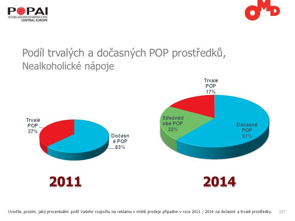 107 Podíl trvalých a dočasných POP prostředků, Nealkoholické nápoje Uveďte, prosím, jaký procentuální podíl Vašeho rozpočtu na reklamu v místě prodeje připadne v roce 2011 / 2014 na dočasné a trvalé prostředky.