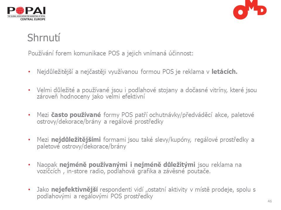 46 Používání forem komunikace POS a jejich vnímaná účinnost: Nejdůležitější a nejčastěji využívanou formou POS je reklama v letácích.