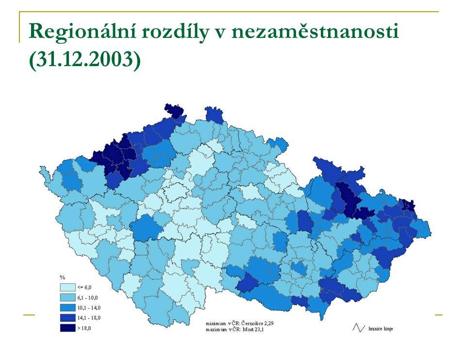 Regionální rozdíly v nezaměstnanosti (31.12.2003)