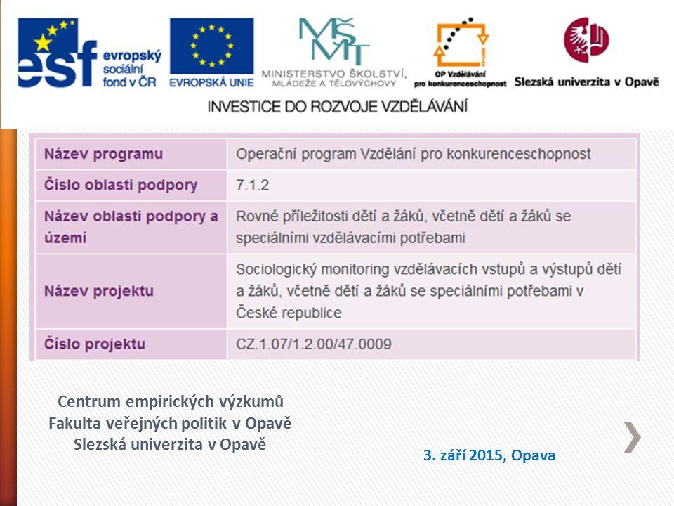 Centrum empirických výzkumů Fakulta veřejných politik v Opavě Slezská univerzita v Opavě 3. září 2015, Opava