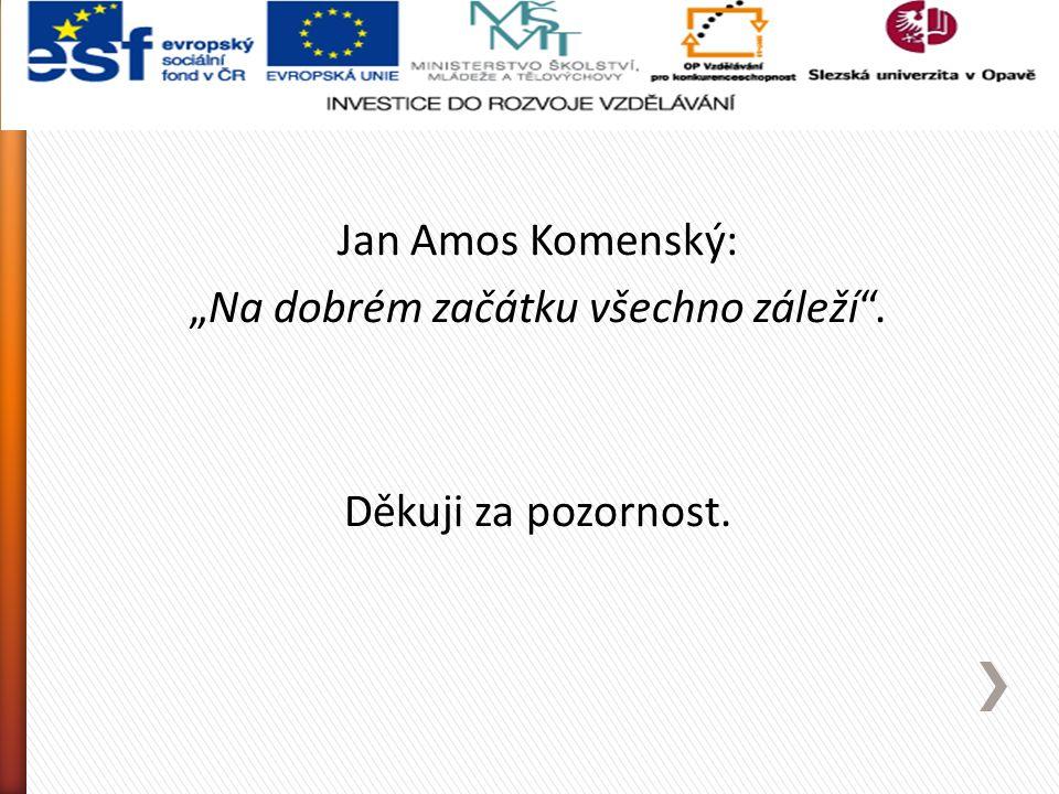 """Jan Amos Komenský: """"Na dobrém začátku všechno záleží"""". Děkuji za pozornost."""