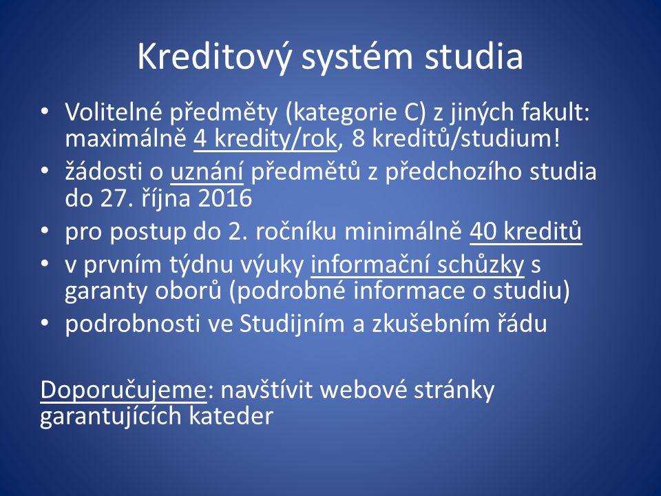 Kreditový systém studia Volitelné předměty (kategorie C) z jiných fakult: maximálně 4 kredity/rok, 8 kreditů/studium.