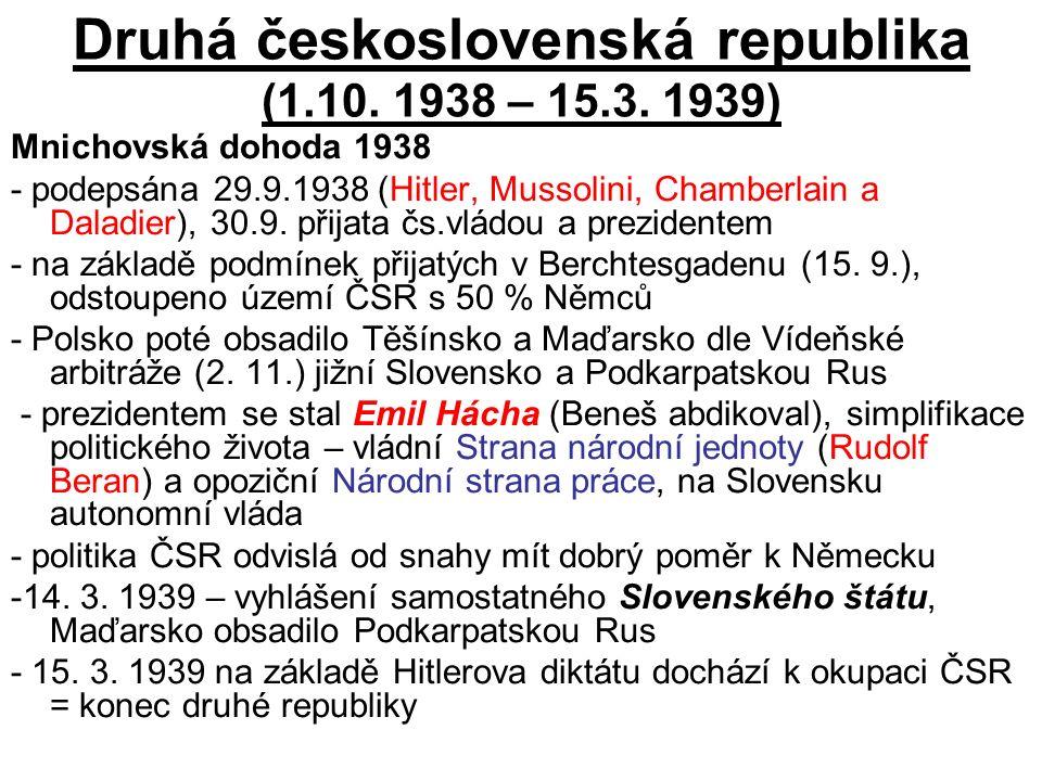 Druhá československá republika (1.10. 1938 – 15.3.