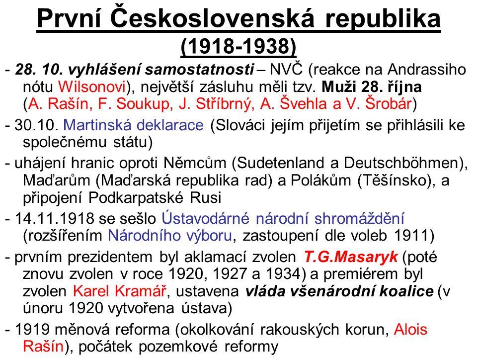 První Československá republika (1918-1938) - 28. 10.