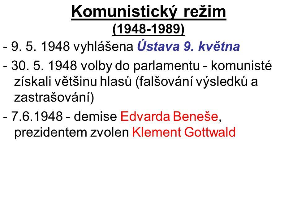 Komunistický režim (1948-1989) - 9. 5. 1948 vyhlášena Ústava 9.