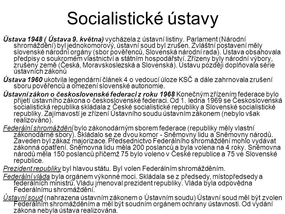Socialistické ústavy Ústava 1948 ( Ústava 9. května) vycházela z ústavní listiny.