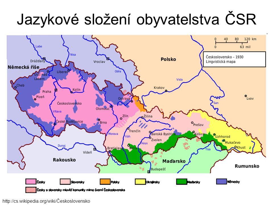 http://cs.wikipedia.org/wiki/Československo Jazykové složení obyvatelstva ČSR