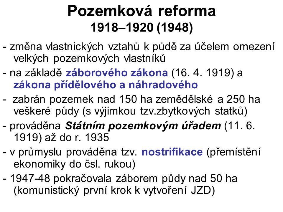 Pozemková reforma 1918–1920 (1948) - změna vlastnických vztahů k půdě za účelem omezení velkých pozemkových vlastníků - na základě záborového zákona (16.