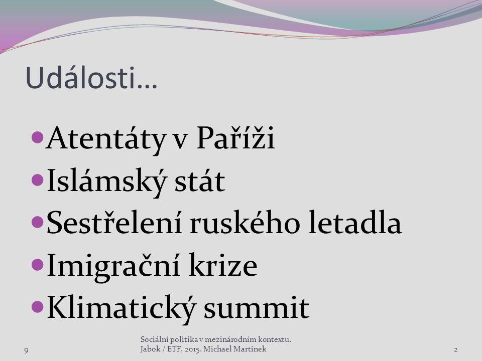 Události… Atentáty v Paříži Islámský stát Sestřelení ruského letadla Imigrační krize Klimatický summit 9 Sociální politika v mezinárodním kontextu. Ja