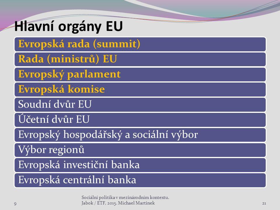 Hlavní orgány EU Evropská rada (summit)Rada (ministrů) EUEvropský parlamentEvropská komiseSoudní dvůr EUÚčetní dvůr EUEvropský hospodářský a sociální výborVýbor regionůEvropská investiční bankaEvropská centrální banka 921 Sociální politika v mezinárodním kontextu.