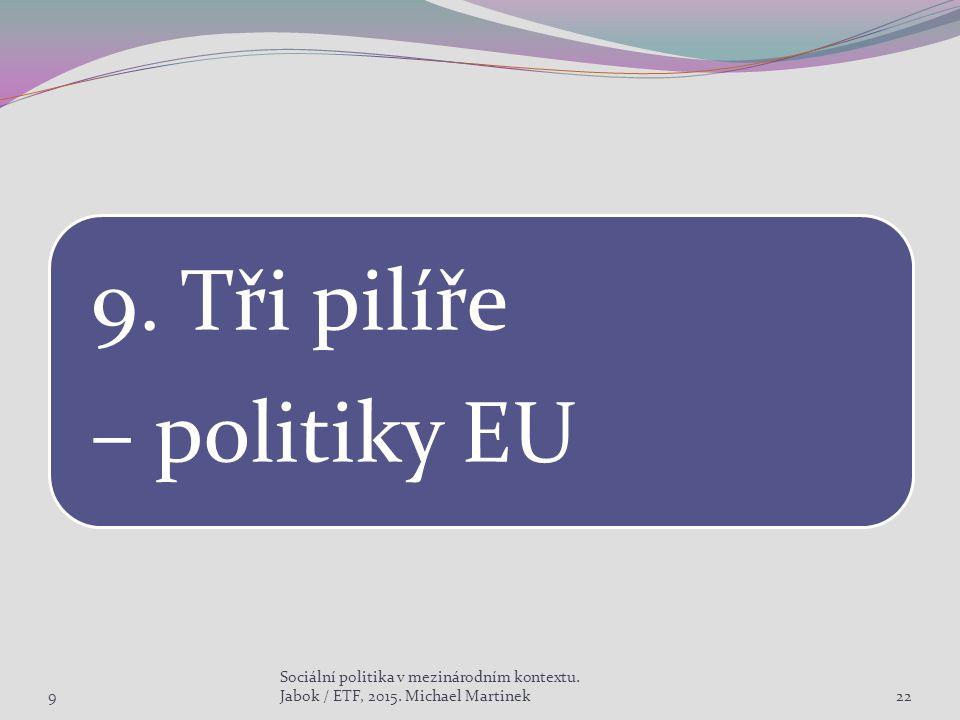 9. Tři pilíře – politiky EU 9 Sociální politika v mezinárodním kontextu.