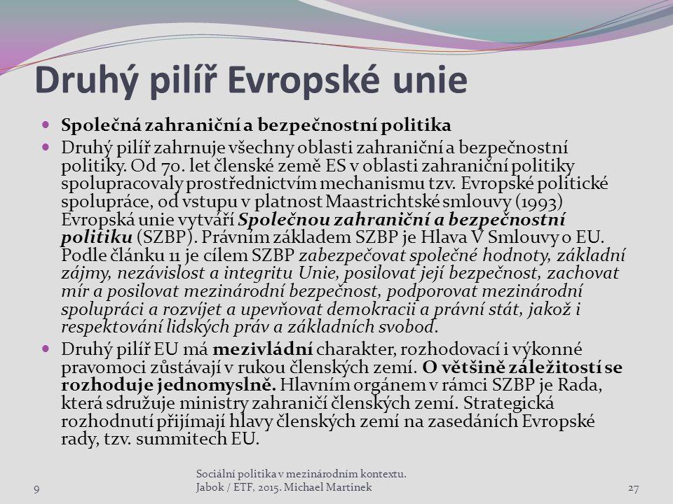 Druhý pilíř Evropské unie Společná zahraniční a bezpečnostní politika Druhý pilíř zahrnuje všechny oblasti zahraniční a bezpečnostní politiky.