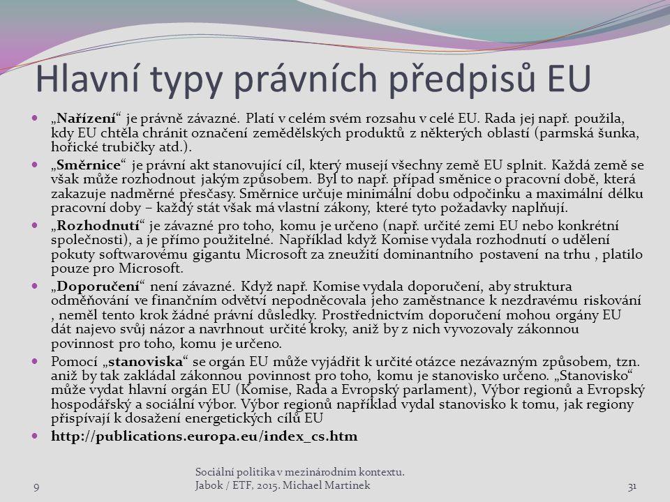 """Hlavní typy právních předpisů EU """"Nařízení"""" je právně závazné. Platí v celém svém rozsahu v celé EU. Rada jej např. použila, kdy EU chtěla chránit ozn"""