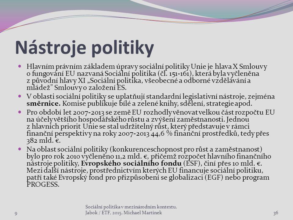 Nástroje politiky Hlavním právním základem úpravy sociální politiky Unie je hlava X Smlouvy o fungování EU nazvaná Sociální politika (čl.