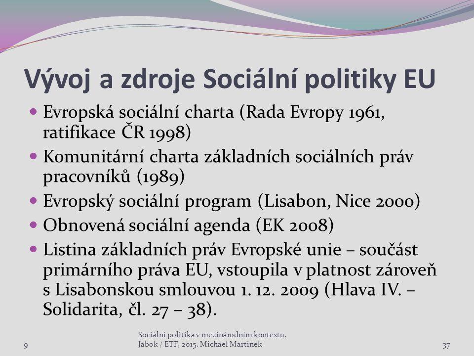 Vývoj a zdroje Sociální politiky EU Evropská sociální charta (Rada Evropy 1961, ratifikace ČR 1998) Komunitární charta základních sociálních práv pracovníků (1989) Evropský sociální program (Lisabon, Nice 2000) Obnovená sociální agenda (EK 2008) Listina základních práv Evropské unie – součást primárního práva EU, vstoupila v platnost zároveň s Lisabonskou smlouvou 1.