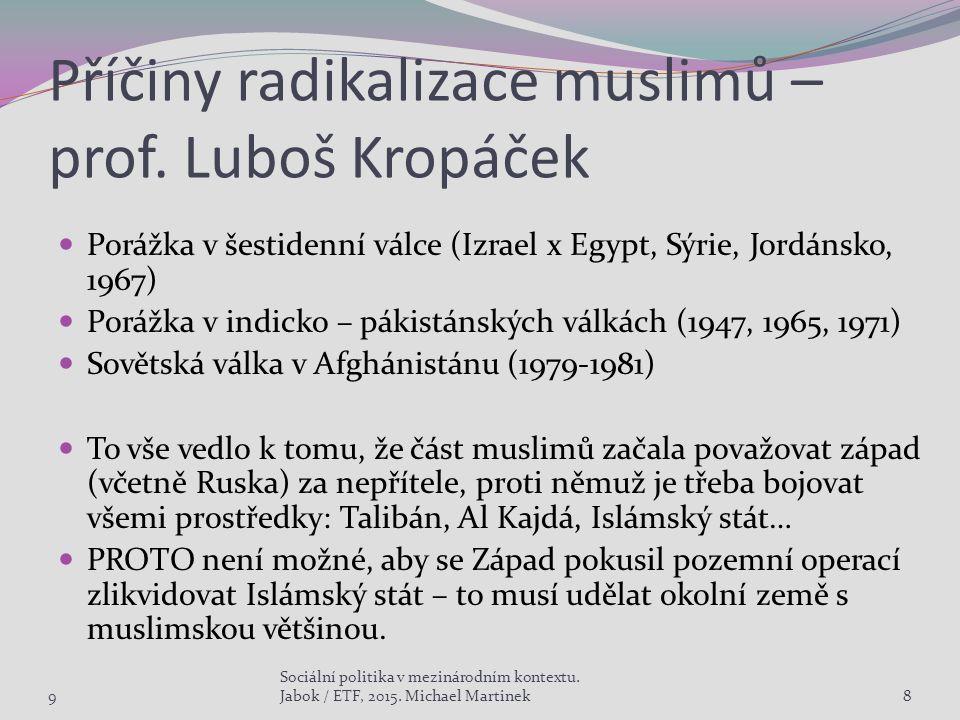 Příčiny radikalizace muslimů – prof. Luboš Kropáček Porážka v šestidenní válce (Izrael x Egypt, Sýrie, Jordánsko, 1967) Porážka v indicko – pákistánsk