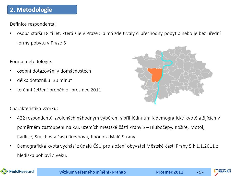 Výzkum veřejného mínění - Praha 5Prosinec 2011- 16 - Pokračování tabulky vlevo N respondentů % respondentů Radlice44 Motol44 Hlubočepy33 Arbesovo náměstí22 Ul.