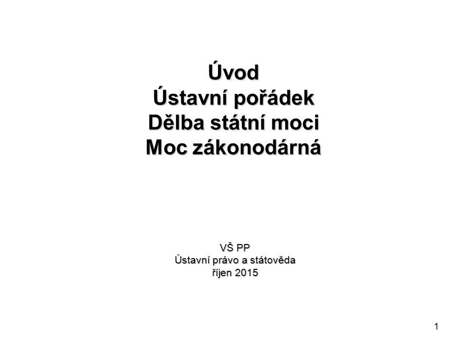 1 Úvod Ústavní pořádek Dělba státní moci Moc zákonodárná VŠ PP Ústavní právo a státověda říjen 2015