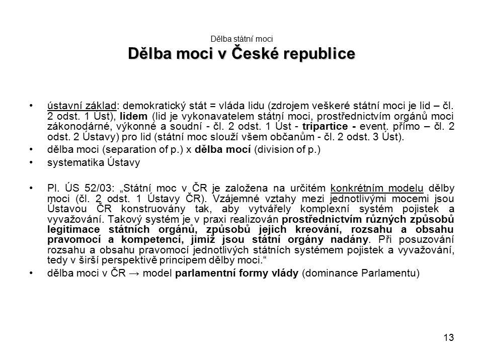 13 Dělba moci v České republice Dělba státní moci Dělba moci v České republice ústavní základ: demokratický stát = vláda lidu (zdrojem veškeré státní moci je lid – čl.