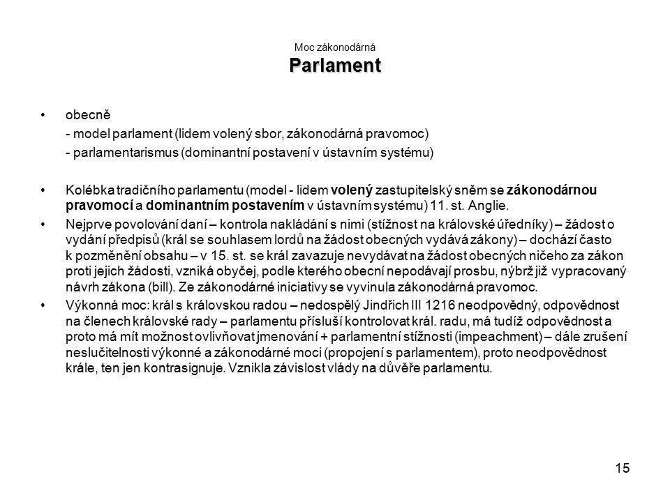 15 Parlament Moc zákonodárná Parlament obecně - model parlament (lidem volený sbor, zákonodárná pravomoc) - parlamentarismus (dominantní postavení v ústavním systému) Kolébka tradičního parlamentu (model - lidem volený zastupitelský sněm se zákonodárnou pravomocí a dominantním postavením v ústavním systému) 11.
