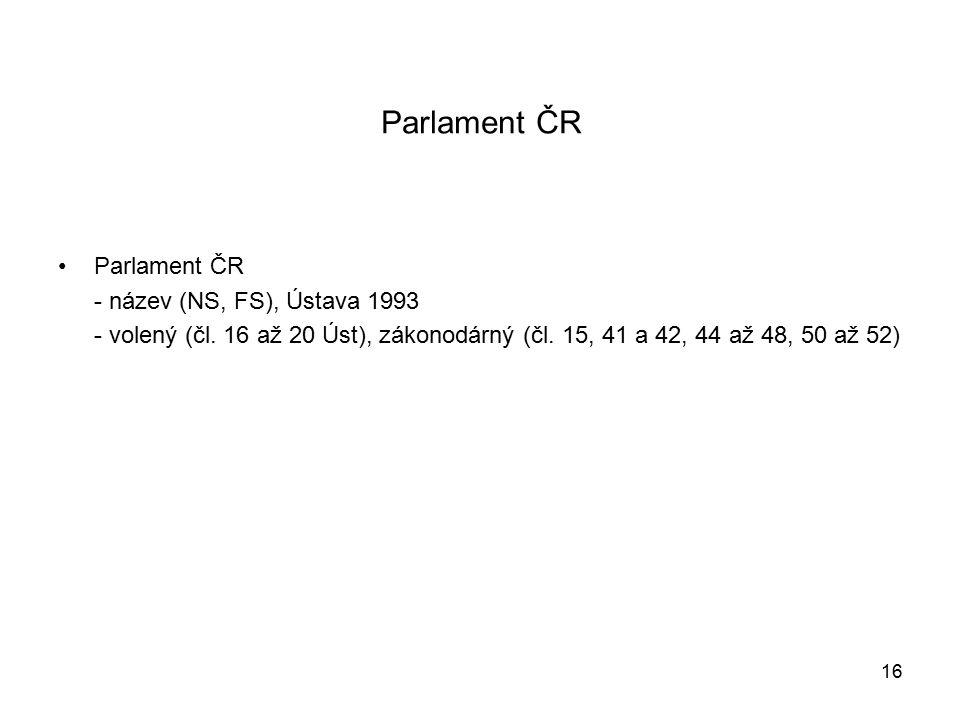 Parlament ČR - název (NS, FS), Ústava 1993 - volený (čl.