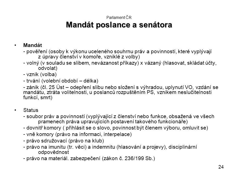 24 Mandát poslance a senátora Parlament ČR Mandát poslance a senátora Mandát - pověření (osoby k výkonu uceleného souhrnu práv a povinností, které vyplývají z úpravy členství v komoře, vzniklé z volby) - volný (v souladu se slibem, nevázanost příkazy) x vázaný (hlasovat, skládat účty, odvolat) - vznik (volba) - trvání (volební období – délka) - zánik (čl.