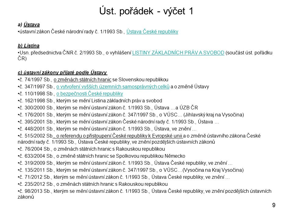 Úst.pořádek - výčet 1 a) Ústava ústavní zákon České národní rady č.