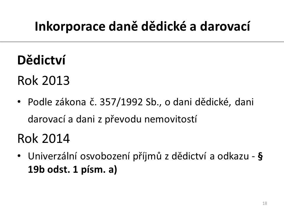 18 Inkorporace daně dědické a darovací Dědictví Rok 2013 Podle zákona č.