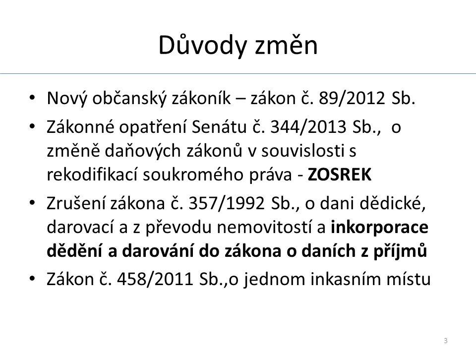 3 Důvody změn Nový občanský zákoník – zákon č. 89/2012 Sb.