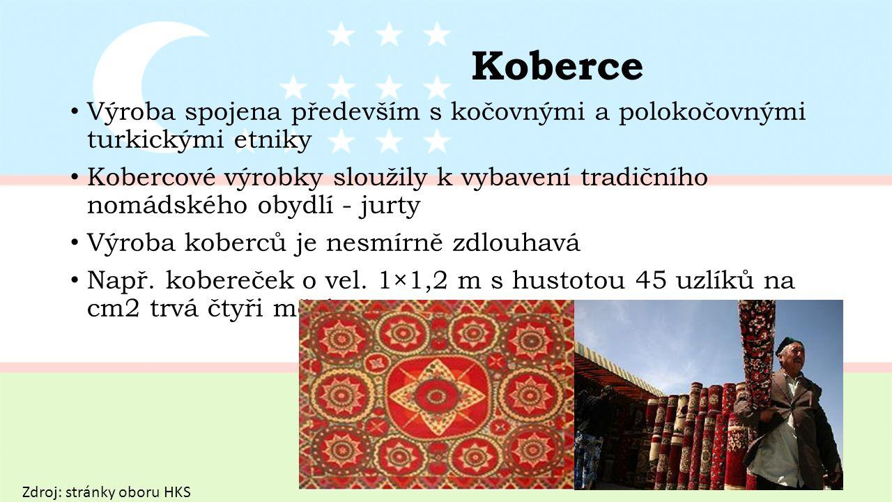 Koberce Výroba spojena především s kočovnými a polokočovnými turkickými etniky Kobercové výrobky sloužily k vybavení tradičního nomádského obydlí - jurty Výroba koberců je nesmírně zdlouhavá Např.