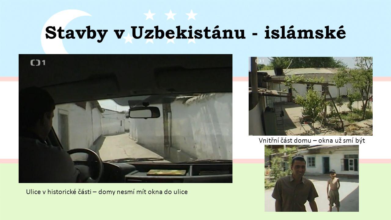 Stavby v Uzbekistánu - islámské Vnitřní část domu – okna už smí být Ulice v historické části – domy nesmí mít okna do ulice