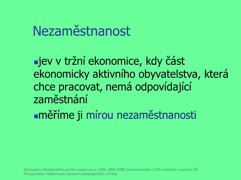 Nezaměstnanost jev v tržní ekonomice, kdy část ekonomicky aktivního obyvatelstva, která chce pracovat, nemá odpovídající zaměstnání měříme ji mírou nezaměstnanosti Dostupné z Metodického portálu www.rvp.cz, ISSN: 1802-4785, financovaného z ESF a státního rozpočtu ČR.