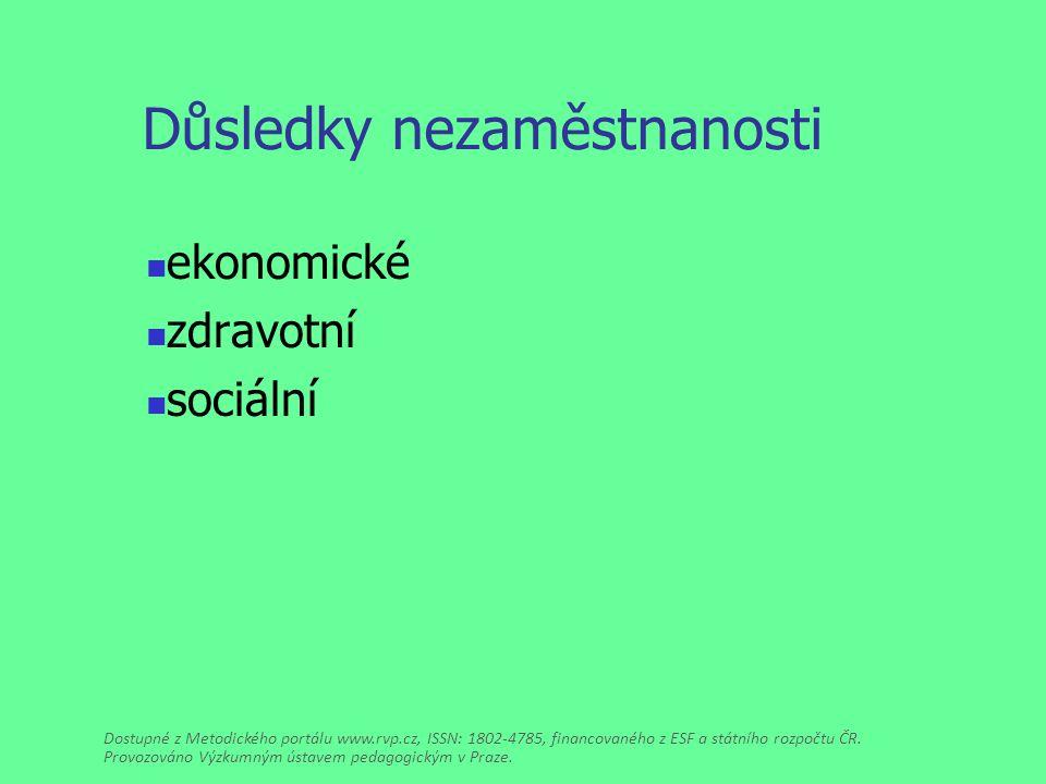 Důsledky nezaměstnanosti ekonomické zdravotní sociální Dostupné z Metodického portálu www.rvp.cz, ISSN: 1802-4785, financovaného z ESF a státního rozpočtu ČR.