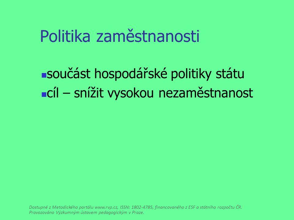 Politika zaměstnanosti součást hospodářské politiky státu cíl – snížit vysokou nezaměstnanost Dostupné z Metodického portálu www.rvp.cz, ISSN: 1802-4785, financovaného z ESF a státního rozpočtu ČR.