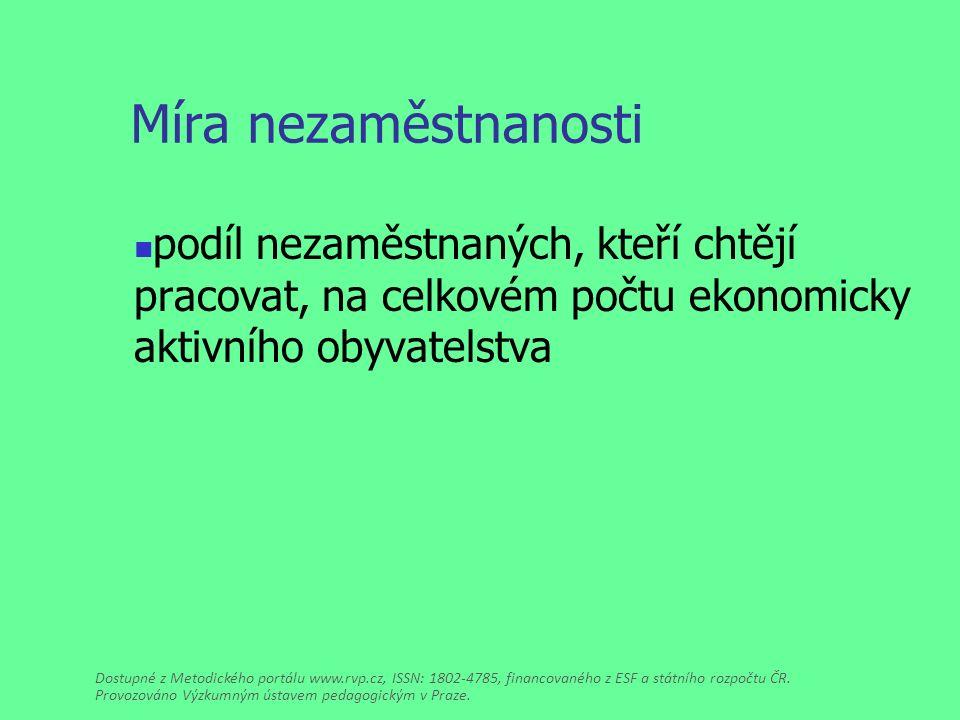 Míra nezaměstnanosti podíl nezaměstnaných, kteří chtějí pracovat, na celkovém počtu ekonomicky aktivního obyvatelstva Dostupné z Metodického portálu www.rvp.cz, ISSN: 1802-4785, financovaného z ESF a státního rozpočtu ČR.