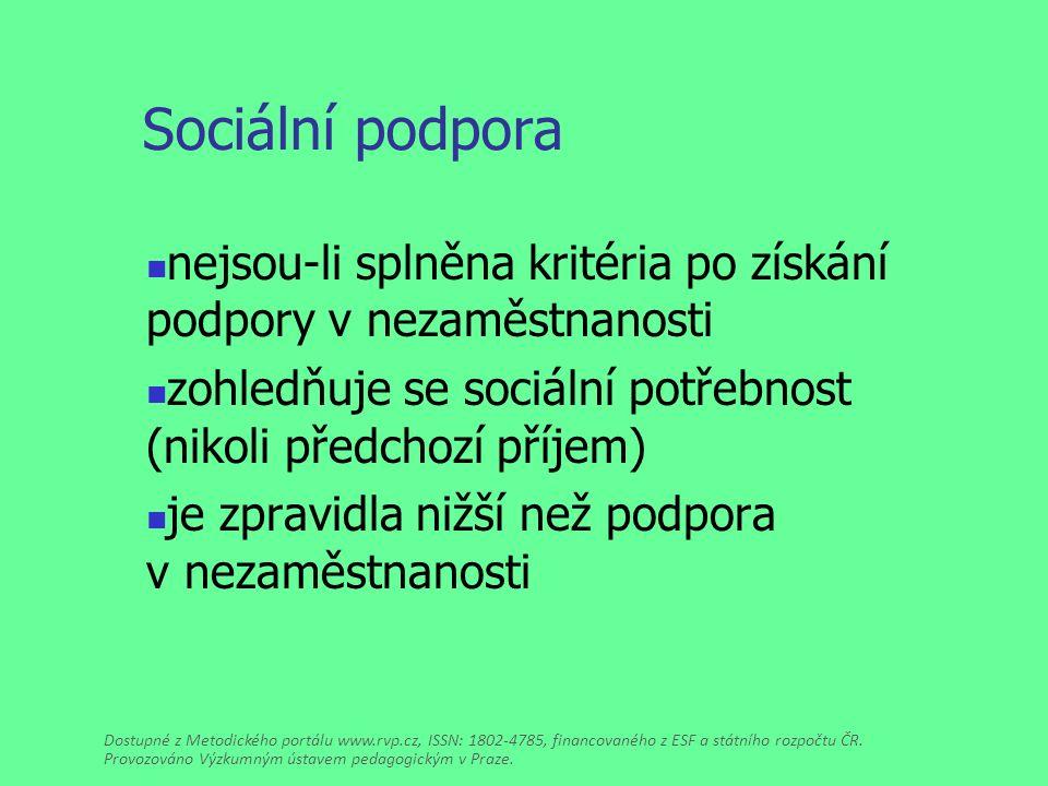 Sociální podpora nejsou-li splněna kritéria po získání podpory v nezaměstnanosti zohledňuje se sociální potřebnost (nikoli předchozí příjem) je zpravidla nižší než podpora v nezaměstnanosti Dostupné z Metodického portálu www.rvp.cz, ISSN: 1802-4785, financovaného z ESF a státního rozpočtu ČR.