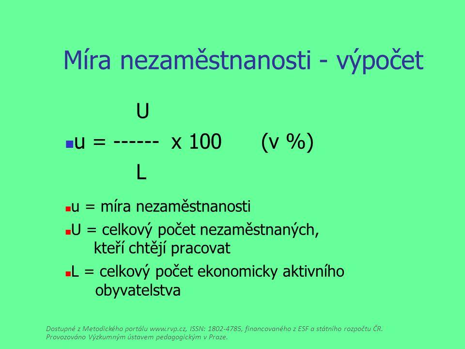 Míra nezaměstnanosti - výpočet U u = ------ x 100 (v %) L u = míra nezaměstnanosti U = celkový počet nezaměstnaných, kteří chtějí pracovat L = celkový počet ekonomicky aktivního obyvatelstva Dostupné z Metodického portálu www.rvp.cz, ISSN: 1802-4785, financovaného z ESF a státního rozpočtu ČR.
