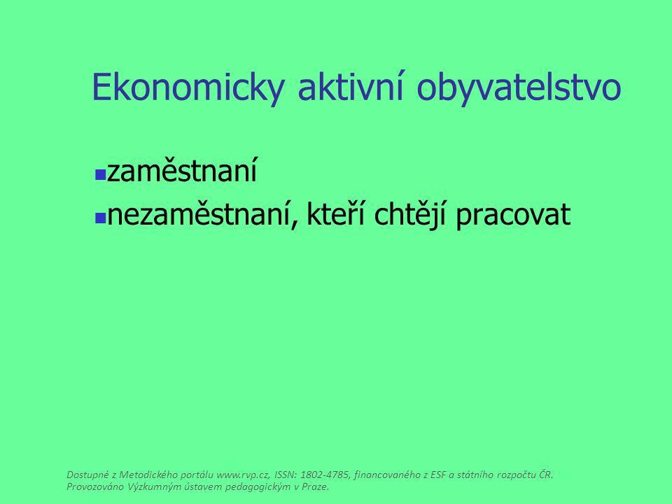 Ekonomicky aktivní obyvatelstvo zaměstnaní nezaměstnaní, kteří chtějí pracovat Dostupné z Metodického portálu www.rvp.cz, ISSN: 1802-4785, financovaného z ESF a státního rozpočtu ČR.