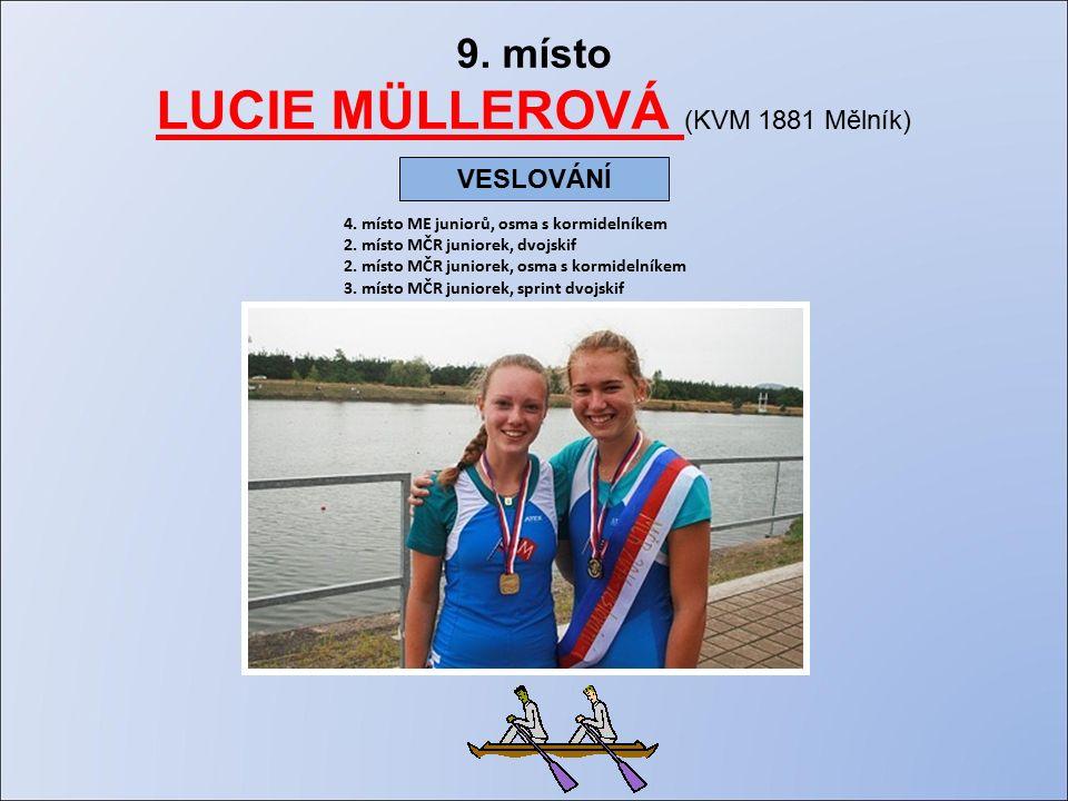 9. místo LUCIE MÜLLEROVÁ (KVM 1881 Mělník) 4. místo ME juniorů, osma s kormidelníkem 2.